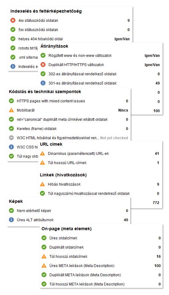 Webhely audit - technikai hibák