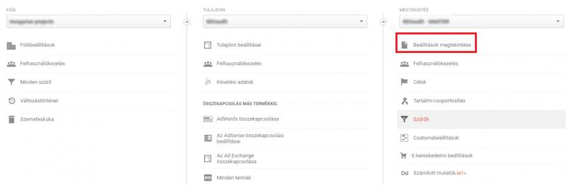 Google Analytics admin felület