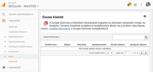 Google Analytics kisérletek