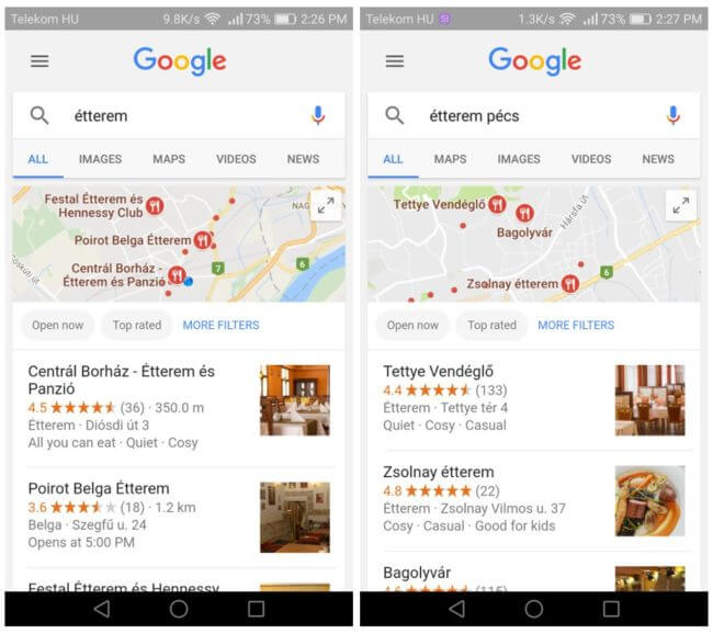 Google helyi eredmény - étterem