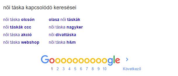 Google kapcsolodó keresések: női táska