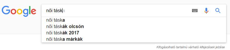 Google keresési javaslatok: női táska