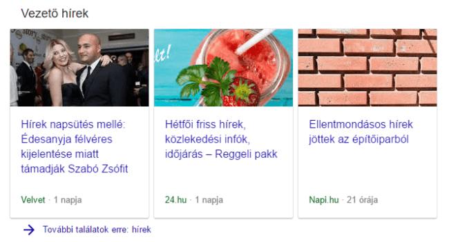 Google hírek - carousell galéria listázás