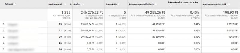 Longtail organikus kulcsszavak ekereskedelmi adatok - Google Analytics egyéni jelentés