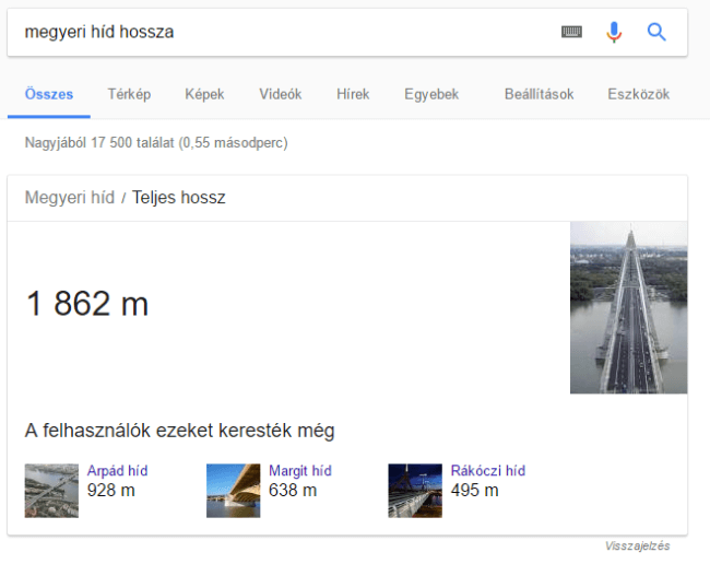 Megyeri híd hossza - Google válasz