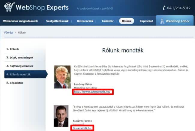 Rólunk mondták - WebshopExperts