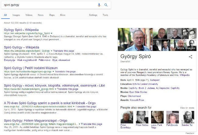 Spiró György Google knowledge graph példa